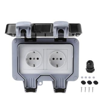 IP66 Waterproof Outdoor Wall Switch Power Socket 13A EU Standard Electrical Outlet Socket Panel AC 220~250V 86 type british three hole wall socket power socket panel 13a ac 110 250v
