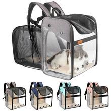 Gato transportando saco de malha transparente respirável mochila para gatos e cães carregando uma mochila pet sac de transporte chat