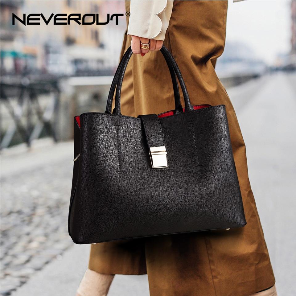 NEVEROUT Ladies Big Handbags Tote Crossbody Bag TOP-Handle Bag Zipper & Hasp Shoulder Bags Luxury Leather Handbag Women Bags