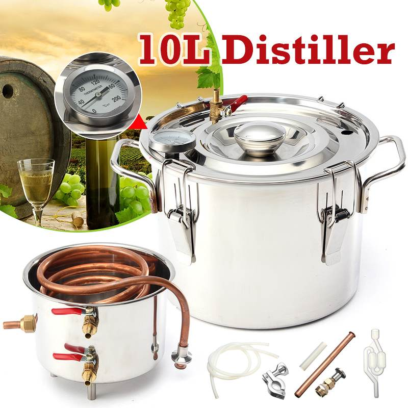 10L Household Moonshine Distiller Boiler Cooler Stainless Steel Copper Ethanol Alcohol Water Wine Essential Oil Brewing