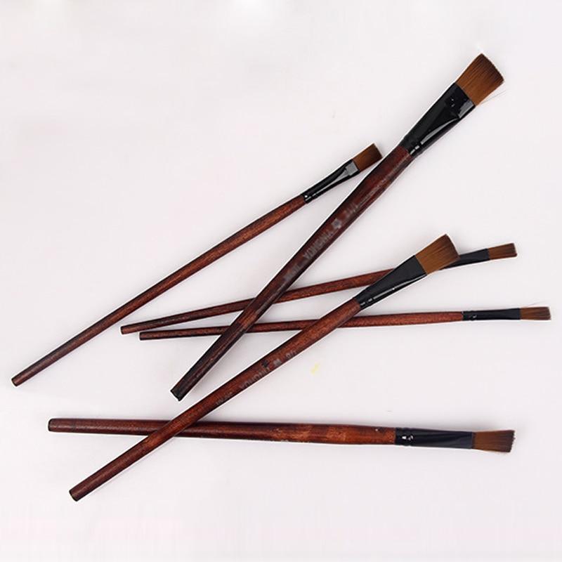 1Set Nylon Hair Painting Supplies Office School Supplies Paint Brushes Artist Painting Brushes Pens Wood Handle Acrylic