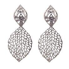 Luxury Earrings for Women Korean Earings Dangle Earring Filigree Leaf Drop Jewelry Clear Crystal faux crystal filigree chandelier earrings
