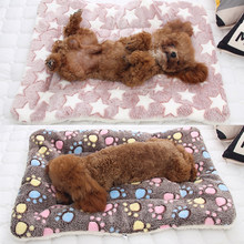 Fashion 1PC Soft Flannel Pet Mat dog Bed Winter Thicken Warm Cat Dog Blanket puppy Sleeping Cover Towel cushion(China)