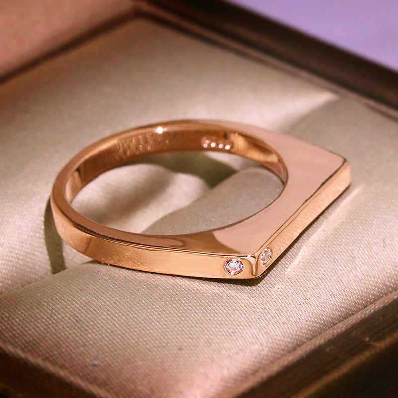 Geométrico polígono cristal anéis de casamento para mulher 925 prata amarelo rosa ouro pequeno zircão pedra empilhamento anel simples jóias cz