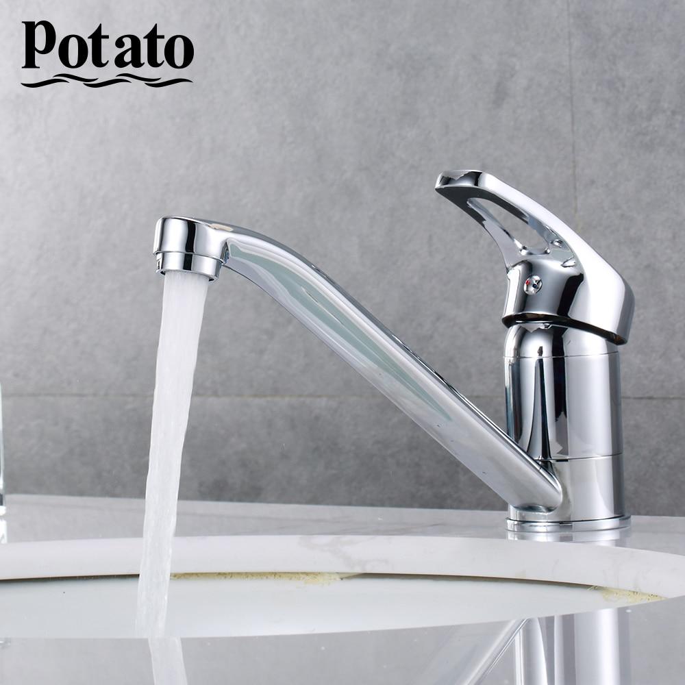 Potato Классический кухонный кран с одной ручкой для горячей и холодной воды, смешанный кухонный кран с вращением на 360 градусов p4227|Смесители для кухни|   | АлиЭкспресс