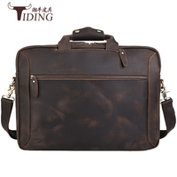 Mens Briefcase Real Leather Travel 17 Laptop Totes Bags Man Crossbody Shoulder Casual Vintage Hand Business Bag Male