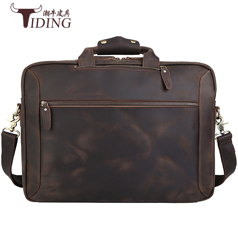Mens Briefcase Real Leather Travel 17