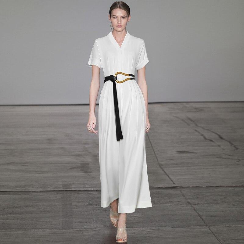 Женские дизайнерские комбинезоны Gedivoen, однотонные белые облегающие комбинезоны с коротким рукавом и поясом, Летний комбинезон в стиле High