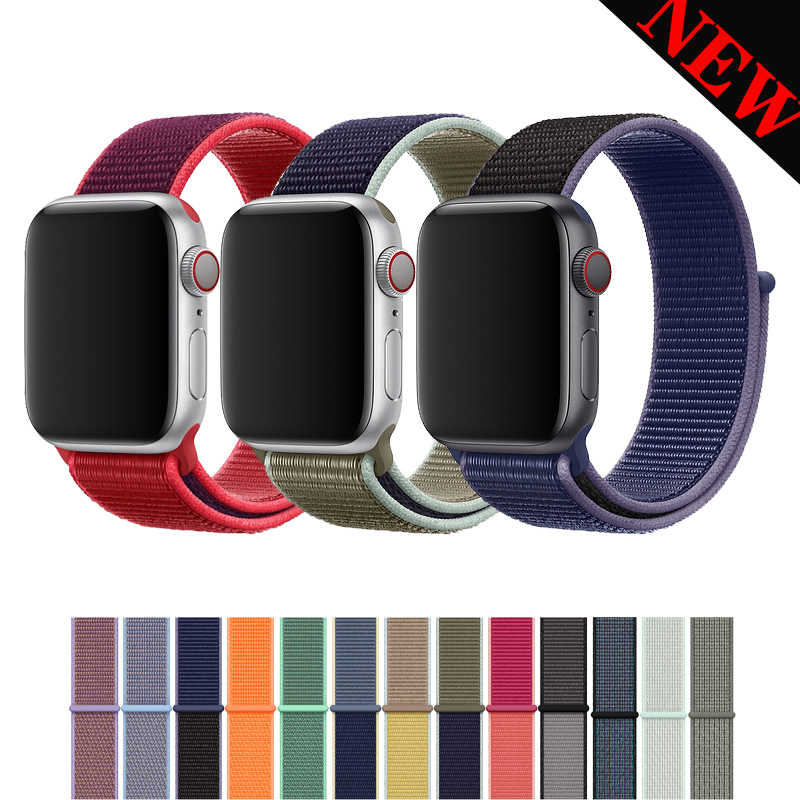 40mm 44mm strap for apple watch band 4 5 42mm 38mm sport loop band for iwatch series 5/4/3/2/1 bracelet nylon weave watchband
