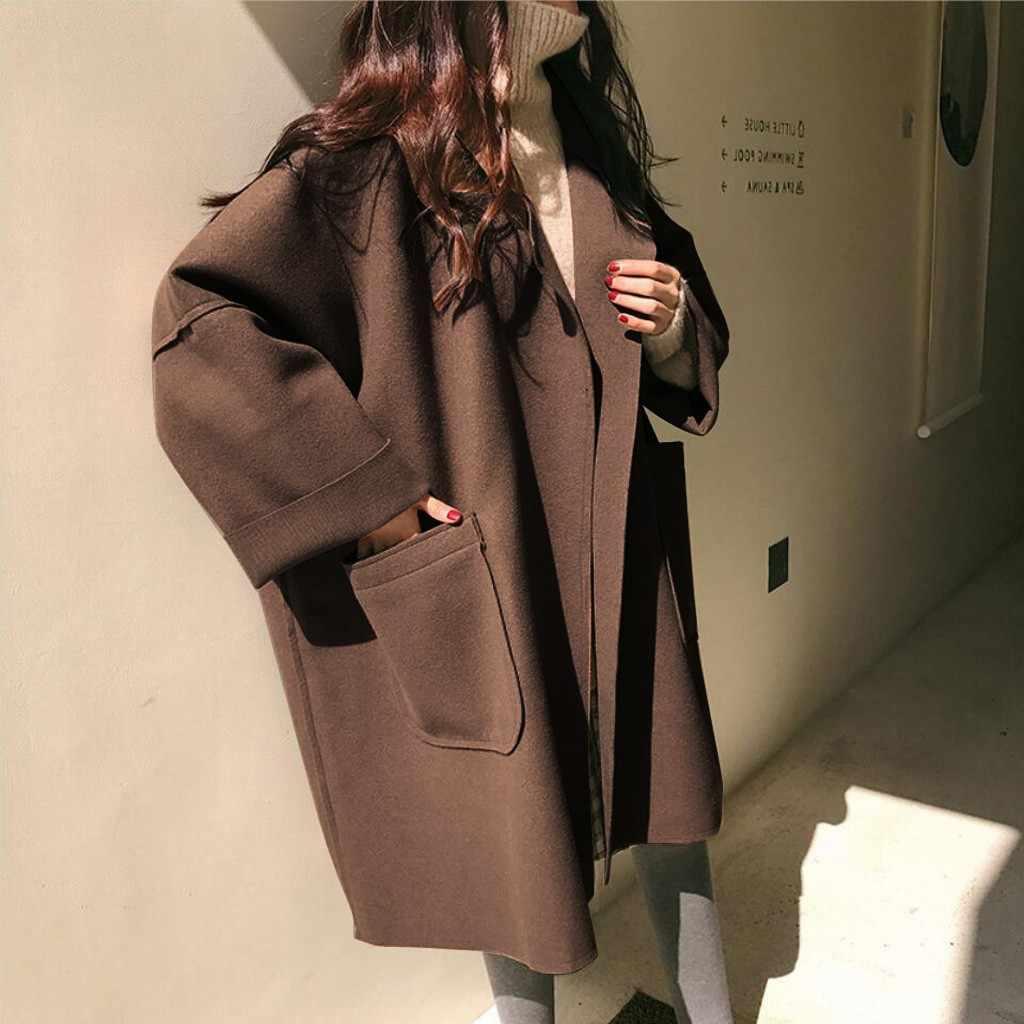 Vrouwelijke Korea Oversize Bruin overjas Vrouwen Plus Size Lange Mouw Losse Lange Casual hoge kwaliteit Zakken Femme Hiver Elegante