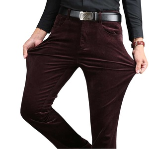 Image 2 - 2020 Winter Spring Men Thick Trousers Brand Red Blue Loose Elastic Mens Corduroy Pants Male Long Straight Business Casual Dress