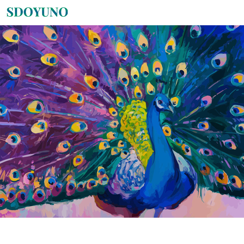 SDOYUNO Frameless Painting By Numbers On Canvas 60X75cm DIY Canvas Painting Kits Peacock Home Decor Drawing By Number