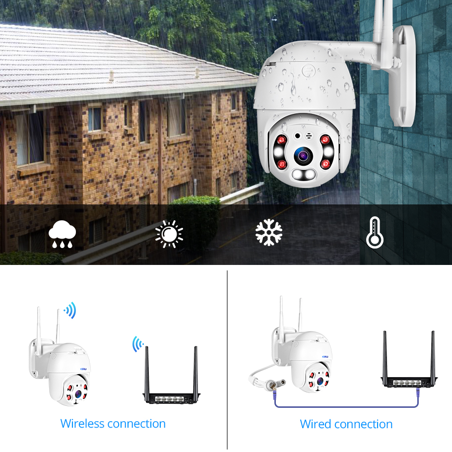 KERUI Outdoor Waterproof Wireless 1080P 2MP PTZ WiFi IP Camera Speed Dome Camera H 264 IR KERUI Outdoor Waterproof Wireless 1080P 2MP PTZ WiFi IP Camera Speed Dome Camera H.264+ IR Home Security CCTV Surveillance