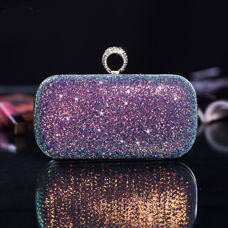 Women Sequin Glitter Evening Clutch Bag Ladies Sparkly Design Wedding Party Shiny Handbag Prom Crystal Chain Bridesmaid Purse