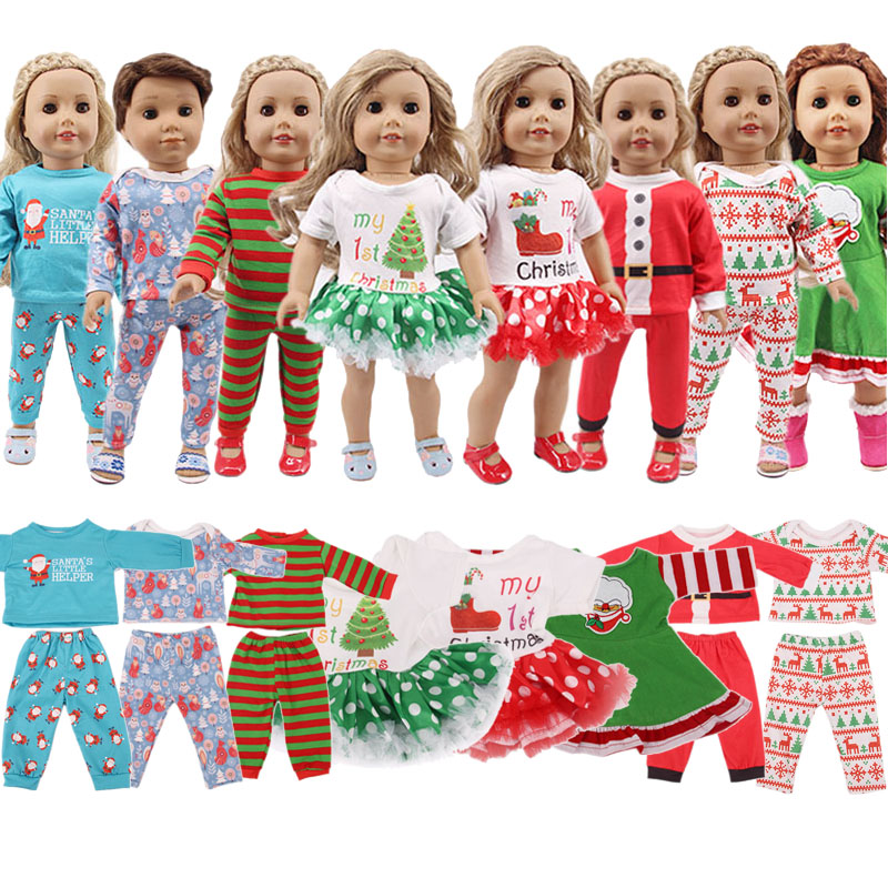 LUCKDOLL 2 Pcs Christmas Designs Nightgowns 18Inch American 43cmBabyDoll Clothes Accessories,Girls Toys,Generation,Birthday Gift