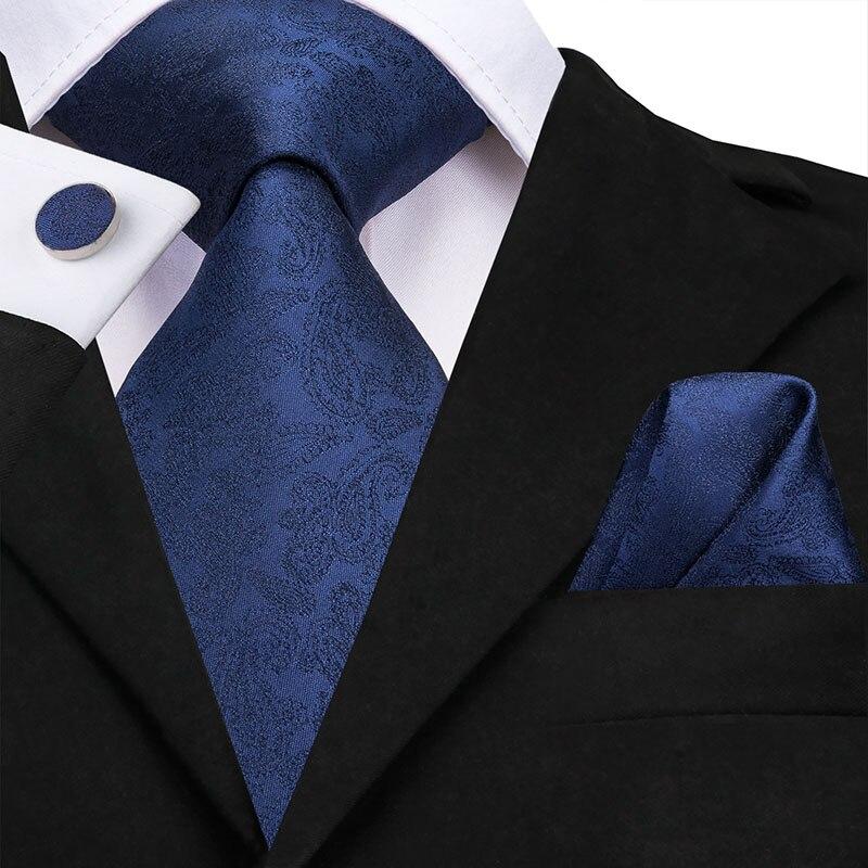 Hi-Tie Wholesale Silk Tie For Men Solid Blue Tie Paisley Necktie Set Pocket Square Cufflink 8.5cm Tie For Business Party SN-3149