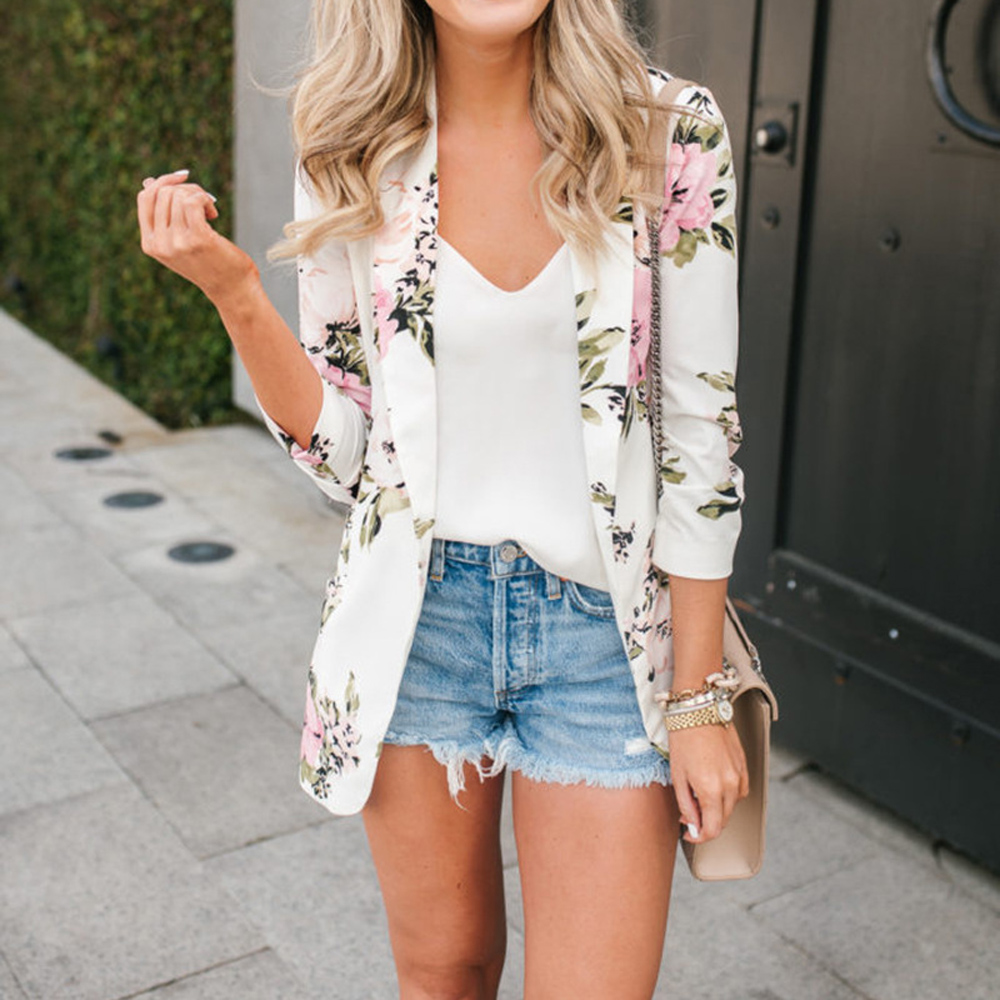 White Blazers Jackets Suit Outerwear Casual Coat Floral-Printed Female Autumn Office Lady title=