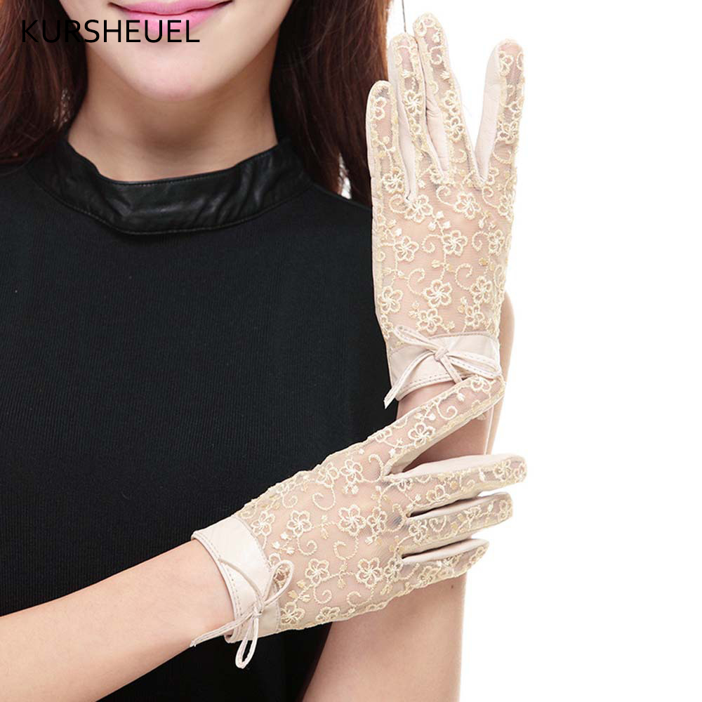 Women Fashion Leather & Lace Gloves Summer Anti-uv Genuine Sheepskin Leather Gloves Ladies Girls Elegant Driving Gloves AGB558