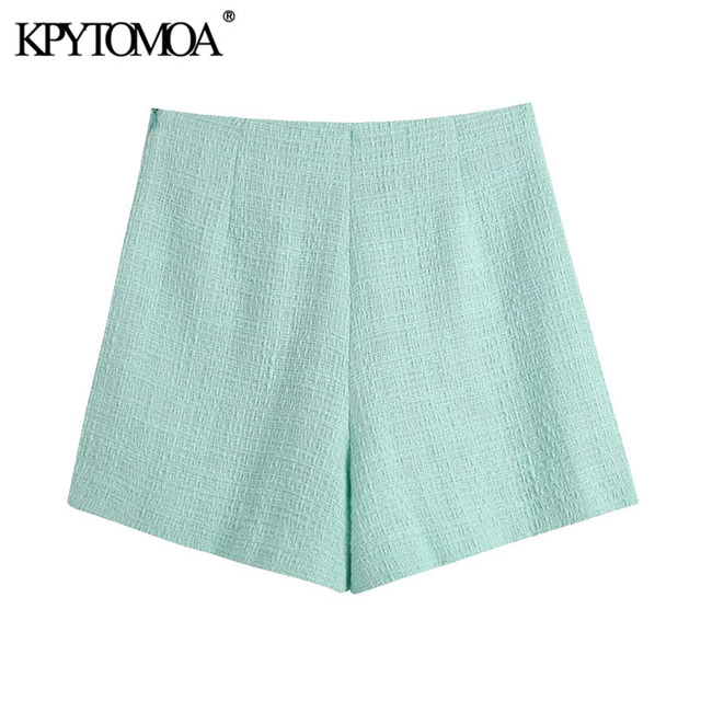 KPYTOMOA Women 2021 Chic Fashion With Buttons Tweed Shorts Skirts Vintage High Waist Side Zipper Female Skorts Mujer 2