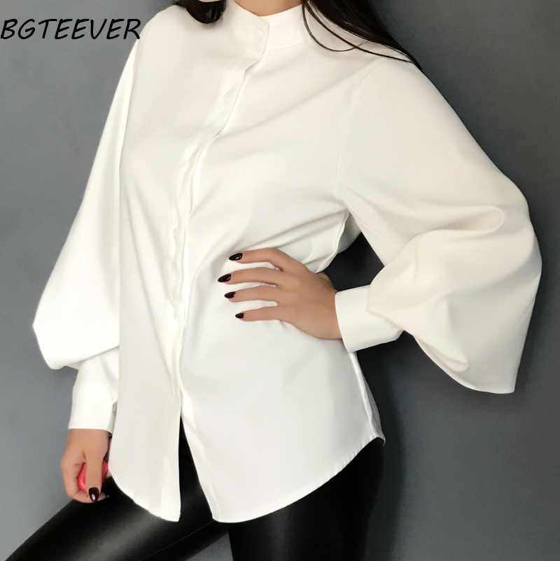BGTEEVER Vintage Stand Collar Lantern Sleeve Women Blouses Tops  Autumn Thicken Loose Shirt Female Casual Shirts 3 colors