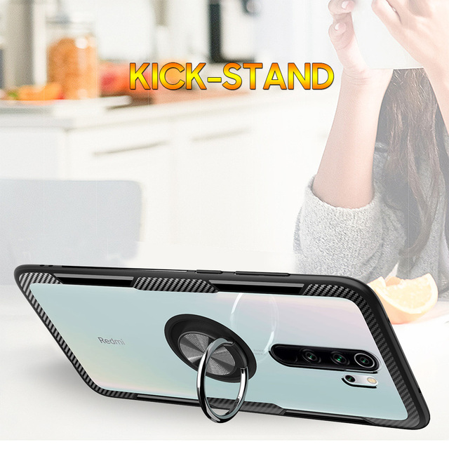 KEYSION Ring Case for Redmi Note 9S 9 Pro Max 8 Pro 7 K20 Clear Shockproof Phone Cover for Xiaomi Mi 10 9T Pro Note 10 Mi 9 Lite 4