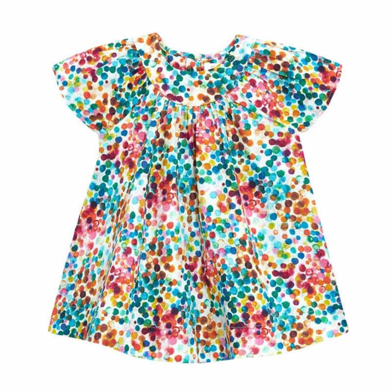 فستان ماركة ليتل مافين 2020 الجديد للصيف للأطفال البنات ملابس أطفال قطن ملون منقط فساتين بأكمام قصيرة S0692
