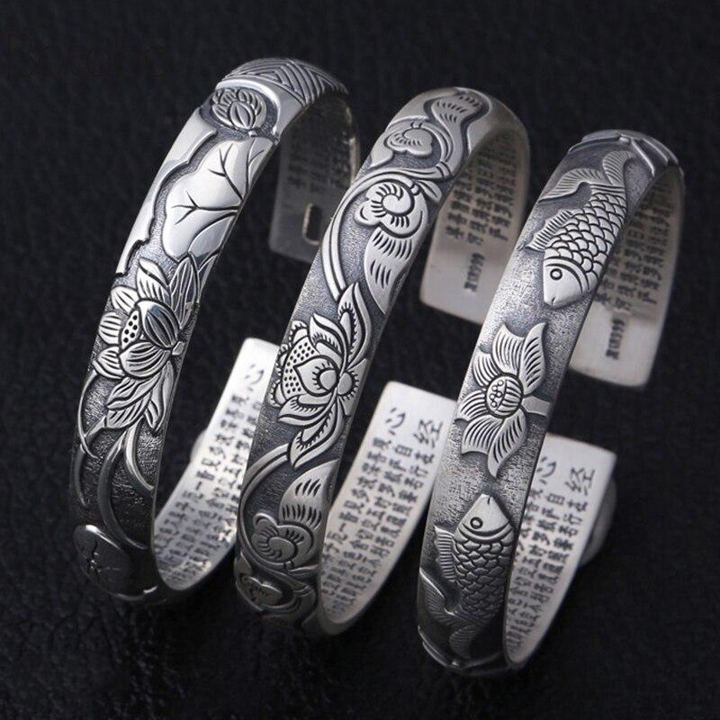 Nouveau Bracelet ethnique réglable 100% S999 bijoux en argent sterling femmes Lotus Mantra inspirant Bracelet de poisson rouge Bracelet cadeau