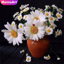 MomoArt 5D Diamond Embroidery Daisy Painting Flower Picture Of Rhinestone Mosaic Home Decoration Gift