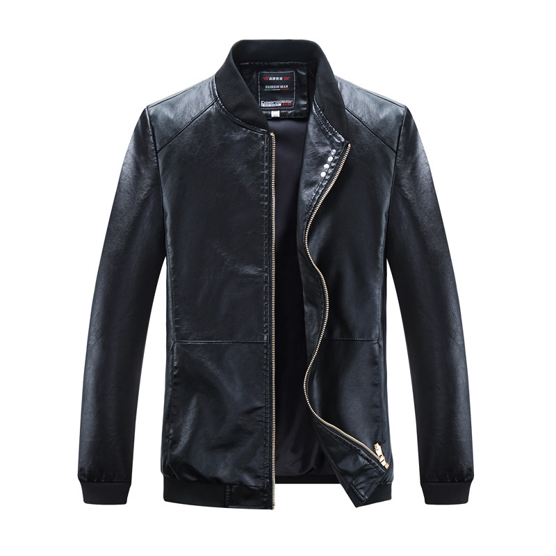 Spring And Autumn Men Thin Baseball Collar PU Leather Coat Jacket Men's Large Size Locomotive Leather Jacket Trend Men'S Wear