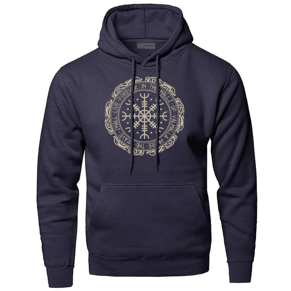 Odin Vikings Hoodie Men Gone to Valhalla Anarchy Sweatshirt Streetwear Winter Fleece Warm Pullover Sweatshirts Hoodies Hoody