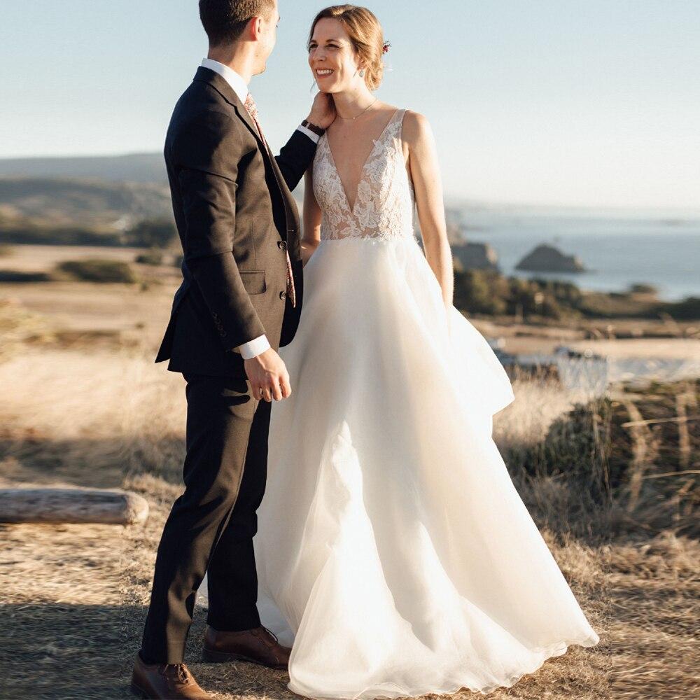 Sexy Beach Wedding Dresses Boho Double V-neck Sleeveless Illusion Lace Organza A-line Vestido De Noiva Bridal Gowns