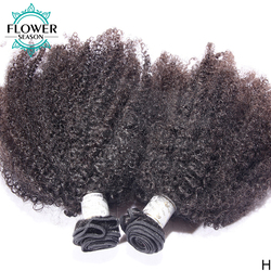 Afro Kinky Curly Human Hair Bundles Indian Remy Hair Double Wefts 100g/Bundles 100% Human Hair Extension Flowerseason
