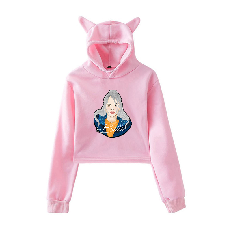 Billie Eilish Pink Crop Hoodie Pullover Women Hoodies Harajuku Sweatshirt For Teenage Girls Autumn Streetwear Hip Hop Clothes