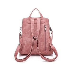 Image 3 - Leather Backpack Women Shoulder Bag Vintage Bagpack Travel Backpacks For School Teenagers Girls Back Pack Women Mochila Feminina