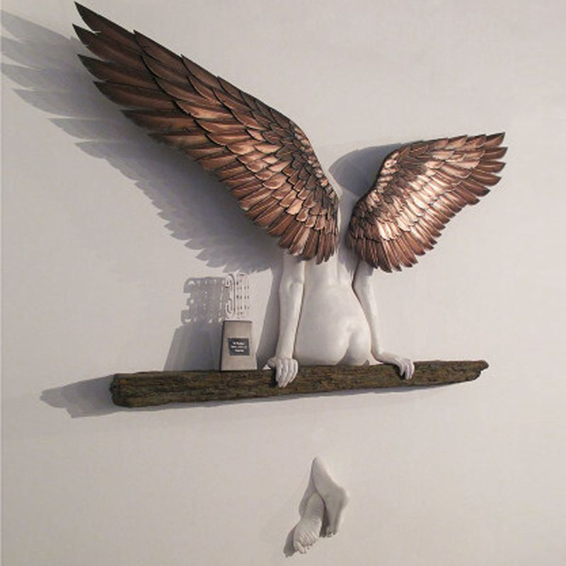 20/30/50cm Angel Art Sculpture Wall Decoration 3D Statue for Living Room Bedroom Home Decor Garden Statue Artwork Angel Wings
