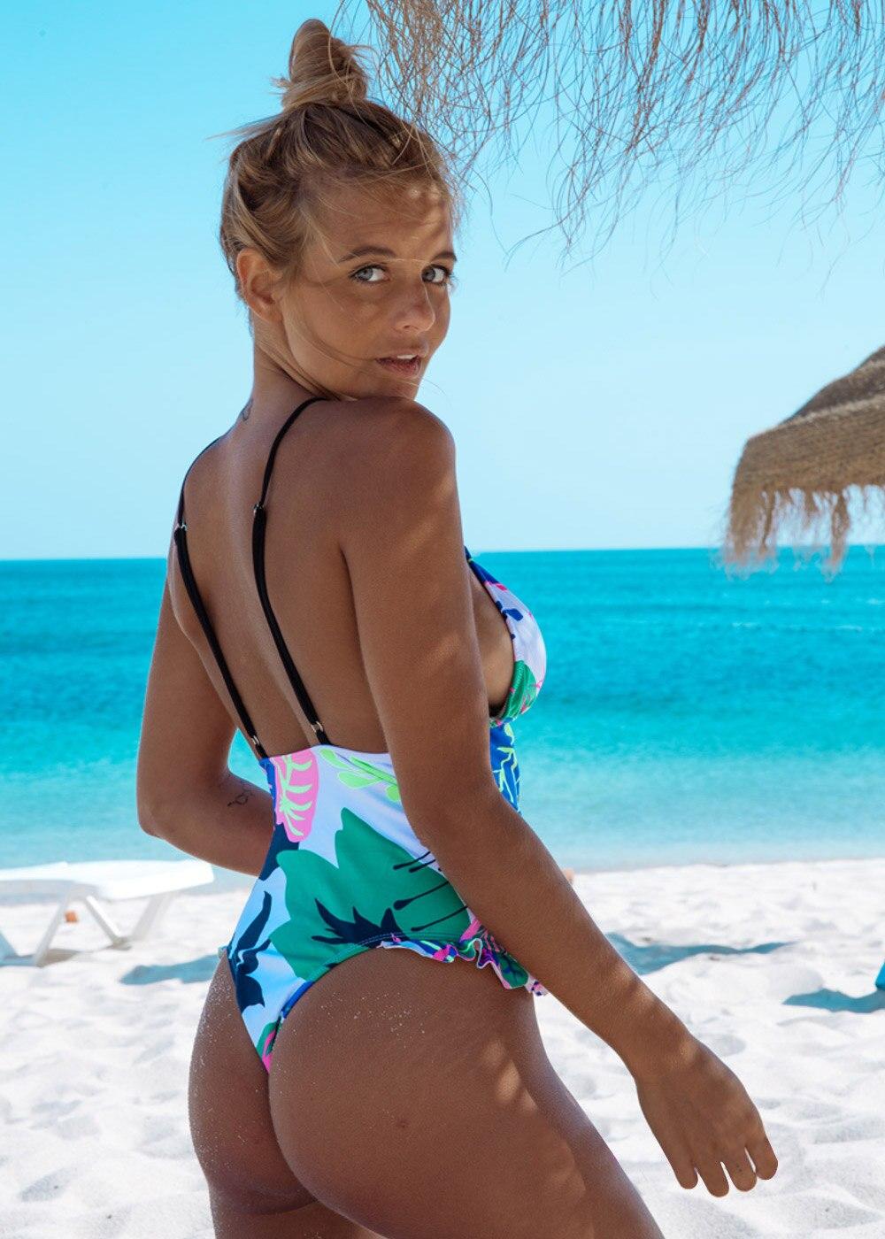 H1c74809ea6c143b78679f55d0cbe04497 2020 New Ruffle Bikinis Women Swimsuit Cross Bandage Swimwear Push Up Bikini Set Beach Bathing Suit Brazilian Biquni Print