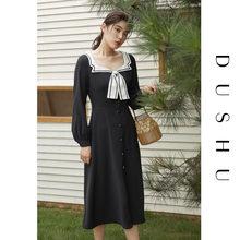 Женское винтажное длинное платье с квадратным воротником dushu