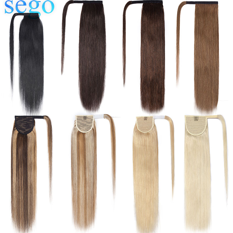 "SEGO 14""-22"" 80g-95g Real Human Hair Ponytails Extensions Non-Remy Indian Hair Clip Strap Wrap Around Pony Tail For Women"