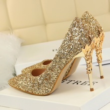 2020 Fall Women 9.5cm Extreme High Heel Fashion Pumps Bling Sequin Elegant Fetish Escarpins Lady Sexy Prom Wedding Dress Shoes