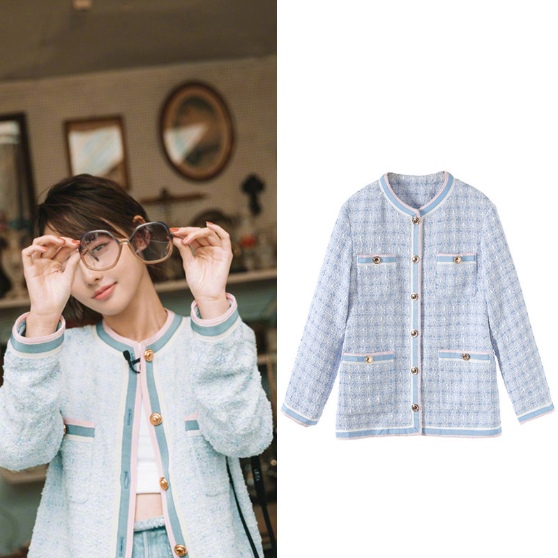 New  Jenny and light blue socialite small sweet wind long sleeved round collar tweed coat female G1020 cloth coat