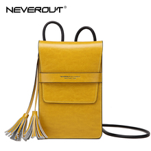 NEVEROUT Solid Crossbody Bag Travel Messenger Cellphone Purse Womens Genuine Leather Small Tassel Flap Shoulder Sac a Main