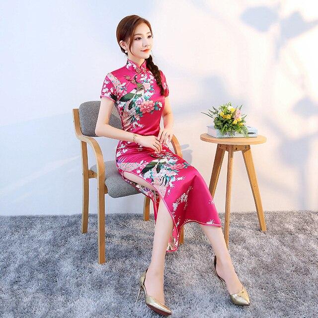 Stile lungo di Raso Liscio Cheongsam Qipao per le Donne Cinese Tradizionale Stretto Vestito Aderente Orientale Asiatica Nuovo Anno Abito Da Sposa