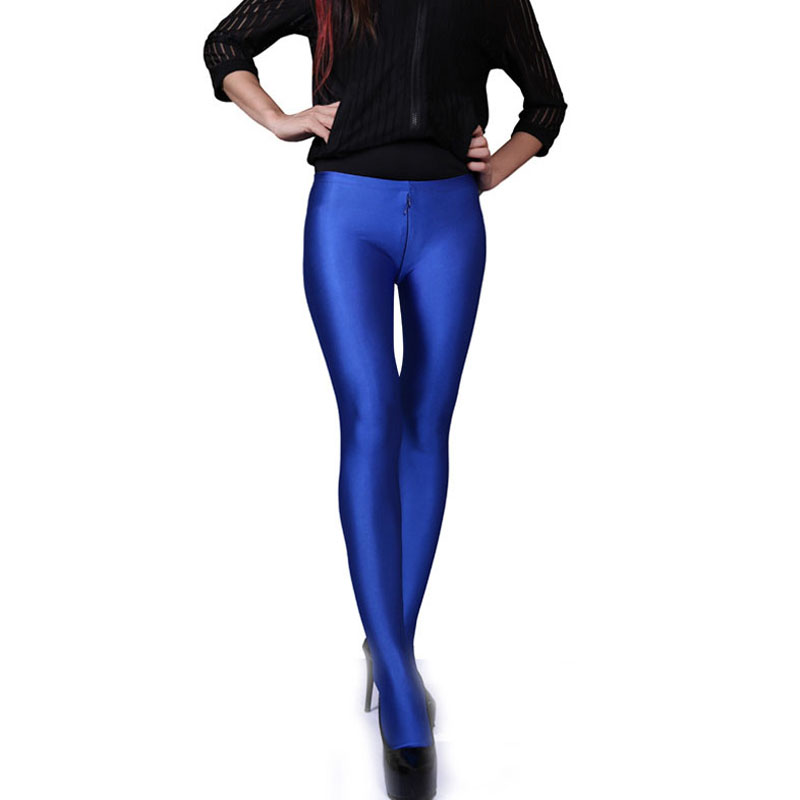 Spandex Smooth Wearproof Bodycon Shiny Pantyhose Women Low Waist Zip Open U Crotch Hot Sexy Legging Club Bar Pants Boot PantTights   -