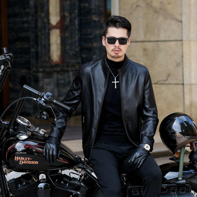블랙 남성 가죽 자켓 2020 새로운 봄 가을 남성 비즈니스 Casua Pu 가죽 자켓 패션 오토바이 타는 사람 자켓 슬림 코트