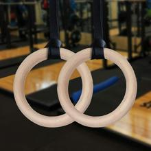 Procircle Wood Gymnastic Rings 25 mm Gym Rings with Adjustable Long Buckles Straps Workout For Home Gym & Cross Fitness