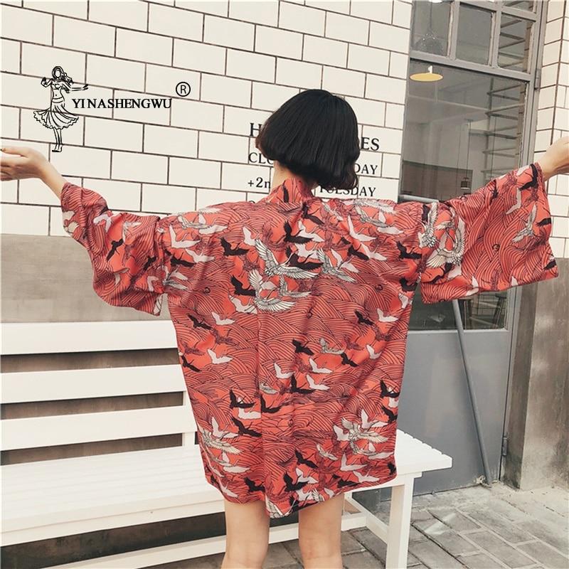 Red Kimono Japan Crane Print New Cardigan Female Loose Shirt Tops Casual Kimonos Coat Yukata Women Kimonos Asian Clothing Kimono