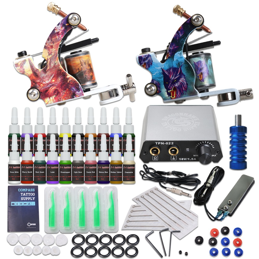 Complete Beginner Tattoo Kit 20 Color Inks Mini Tattoo Power Supply Cheap Tattoo Kit Set Grips Needles Tips Supplies