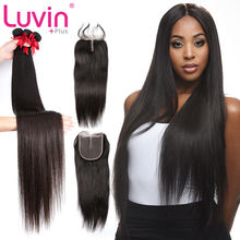 Luvin OneCut Hair Straight 8-28 30 32 Inch Bundles Brazilian Remy Hair 100% Human Hair weaves 3 4 Bundles With Closure for women(China)