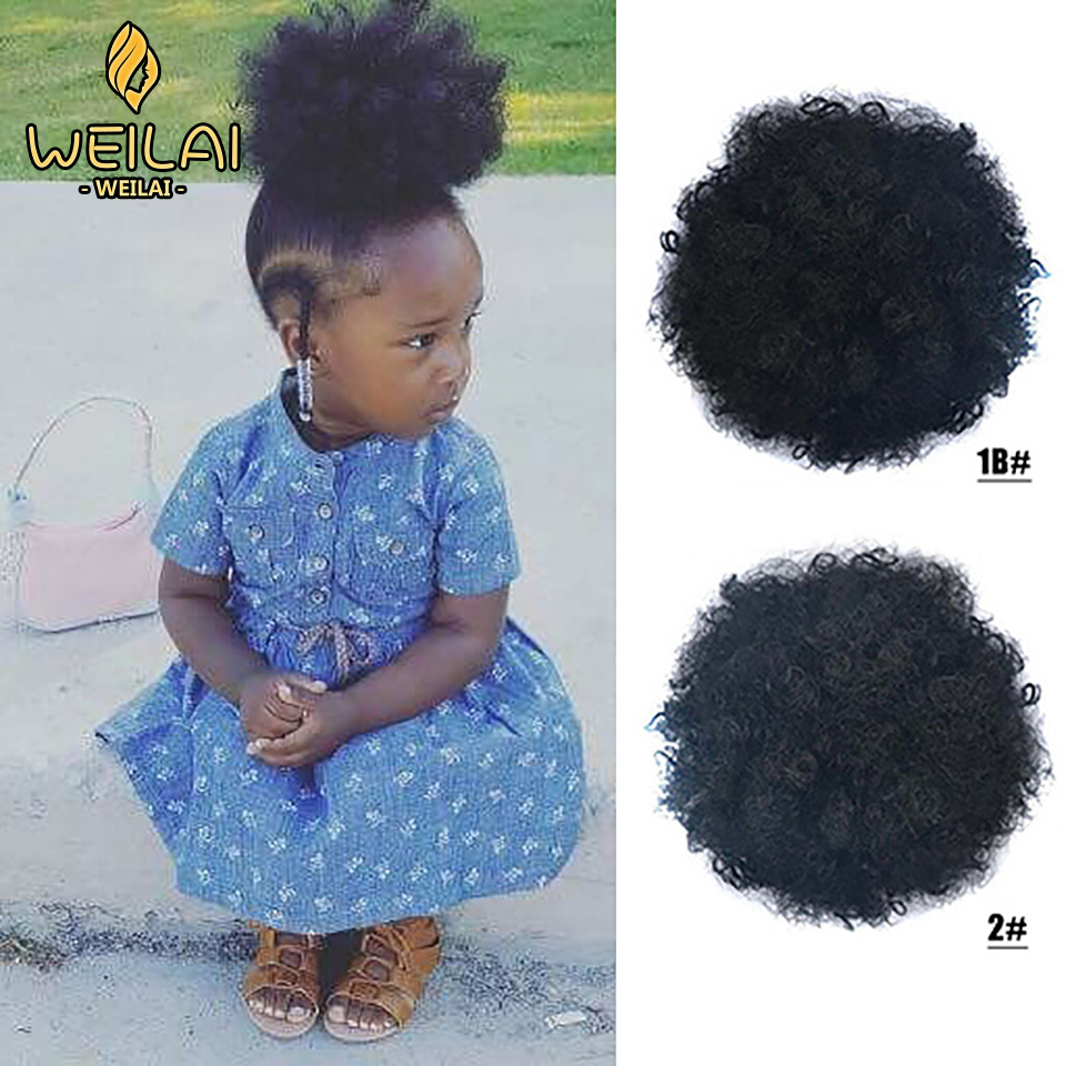 WEILAI African Short Curly Synthetic Big Round Ponytail Curly Hair Drawstring Fluffy Ponytail Headwear Synthetic Buns For Black