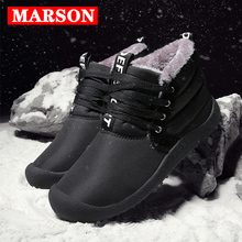 MARSON Men Boots Winter Snow Outdoor Sneakers Plush Cotton Warm Casual Shoes Male No-Slip Waterproof High Top Mens